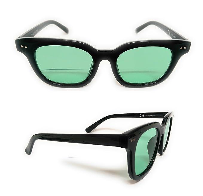 Occhiali da sole unisex, modello vintage specchiato, senza montatura, con lente quadrata UV 400 Nero Nero