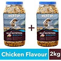 Meatup Chicken Flavour, Real Chicken Biscuit, Dog Treats - 1kg Jar