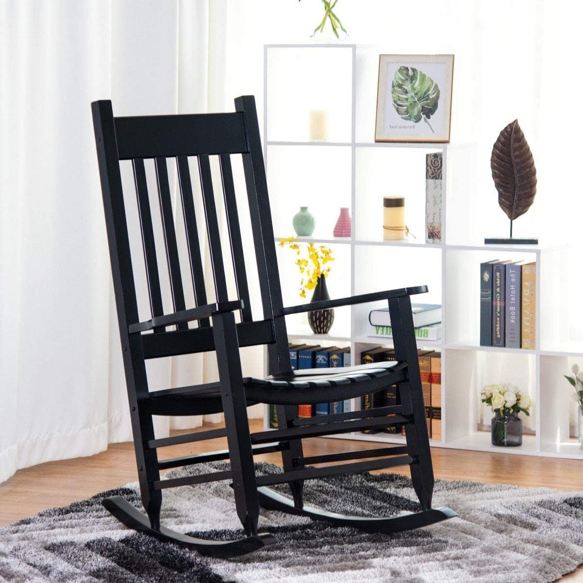 Premium Quality Patio Outdoor Indoor Wooden Rocking Furniture Chairs for Porch, Garden Deck, Beach Side and All Weather Seasons Black