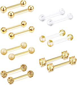 SAILIMUE 16 Pcs 14G 12-18mm Stainless Steel Ear Cartilage Tongue Nipple Rings Straight Barbells Body Piercing Jewelry