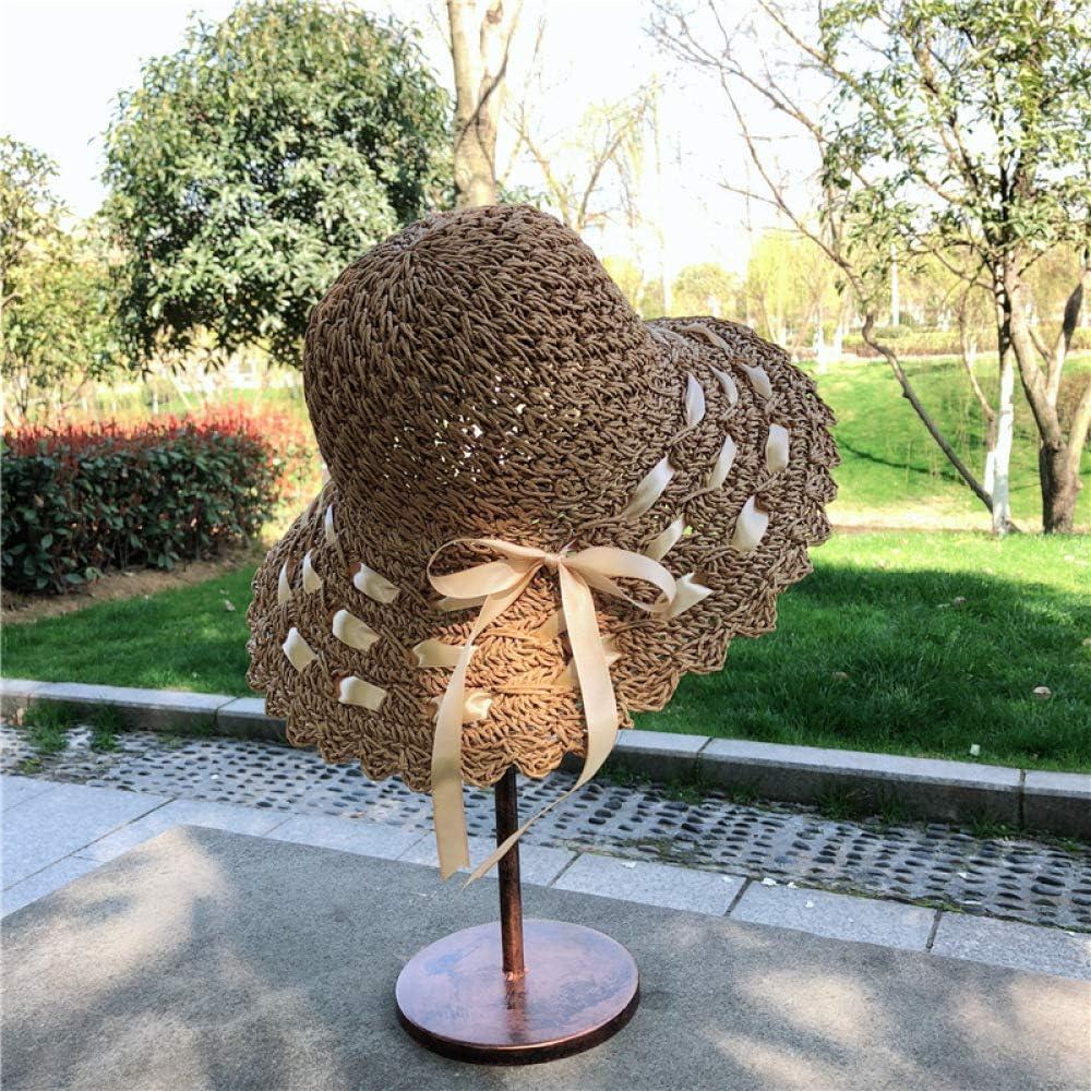 mlpnko Sombrero de Pescador, Protector Solar Femenino, Sombrero de Playa, sombrilla Plegable, Capullo, Cinta, Cuenca Trenzada, Caqui (Tipo de Flor de Ventilador): Amazon.es: Hogar