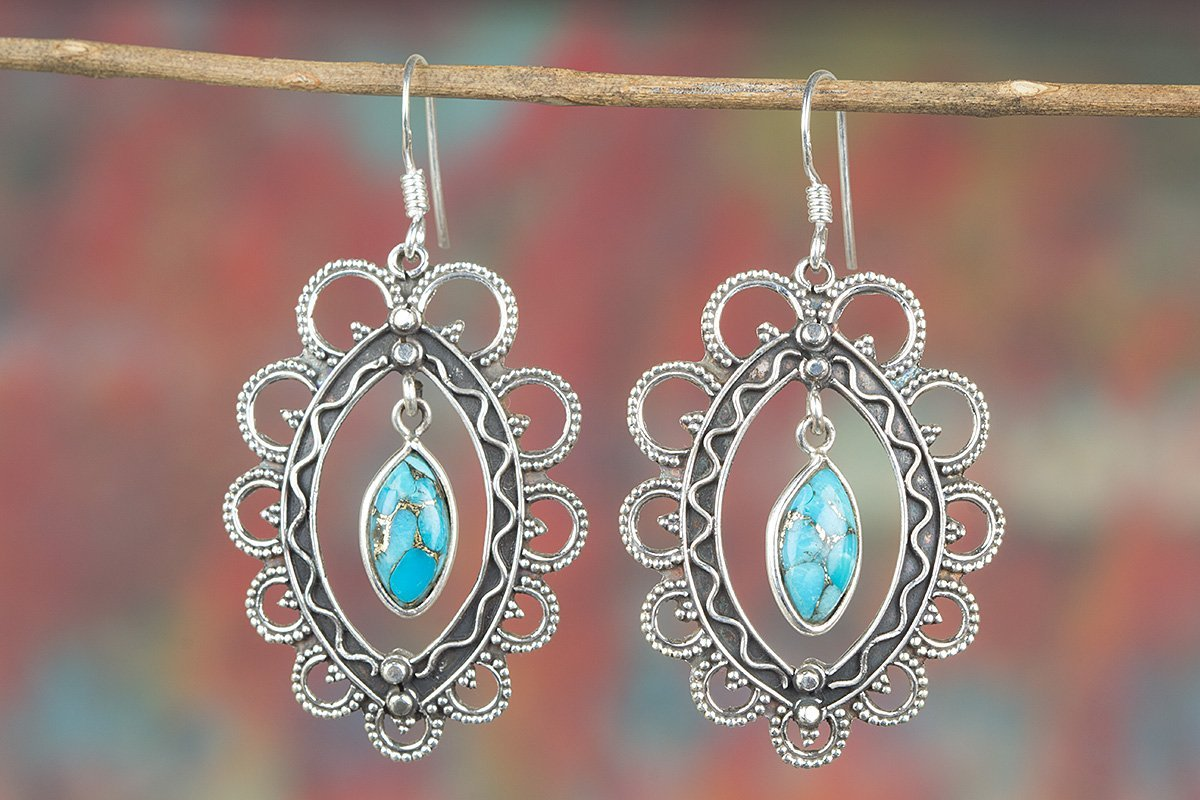 Blue Copper Turquoise Earring, 925 Sterling Silver Earring, Antique Earring, Blue Dangle Earring, Hipping Earring, Designer Earring, Blue Jewelry, Birthstone Earring, Wedding Jewelry, Woman's Jewelry Woman' s Jewelry