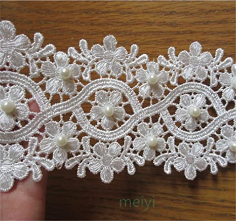 1 M Vintage Embroidered Lace Edge Trim Ribbon Wedding Applique DIY Sewing Craft