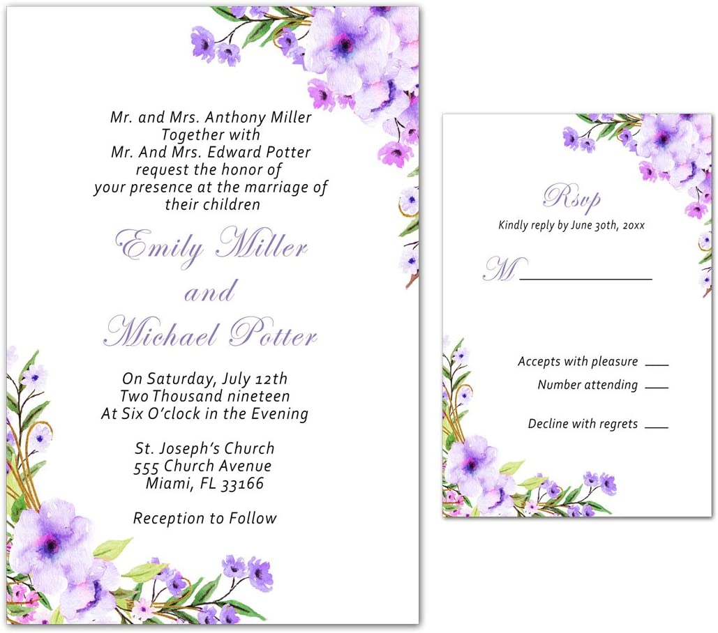 Wedding INVITATIONS WITH REPLY CARD-Top in Purple-Wedding Cards Tickets