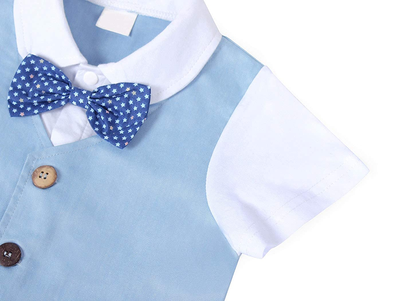 MetCuento Baby Boys Clothes Suspenders Pants Set Bow Tie Shirts 2 Piece Gentleman Summer Outfit