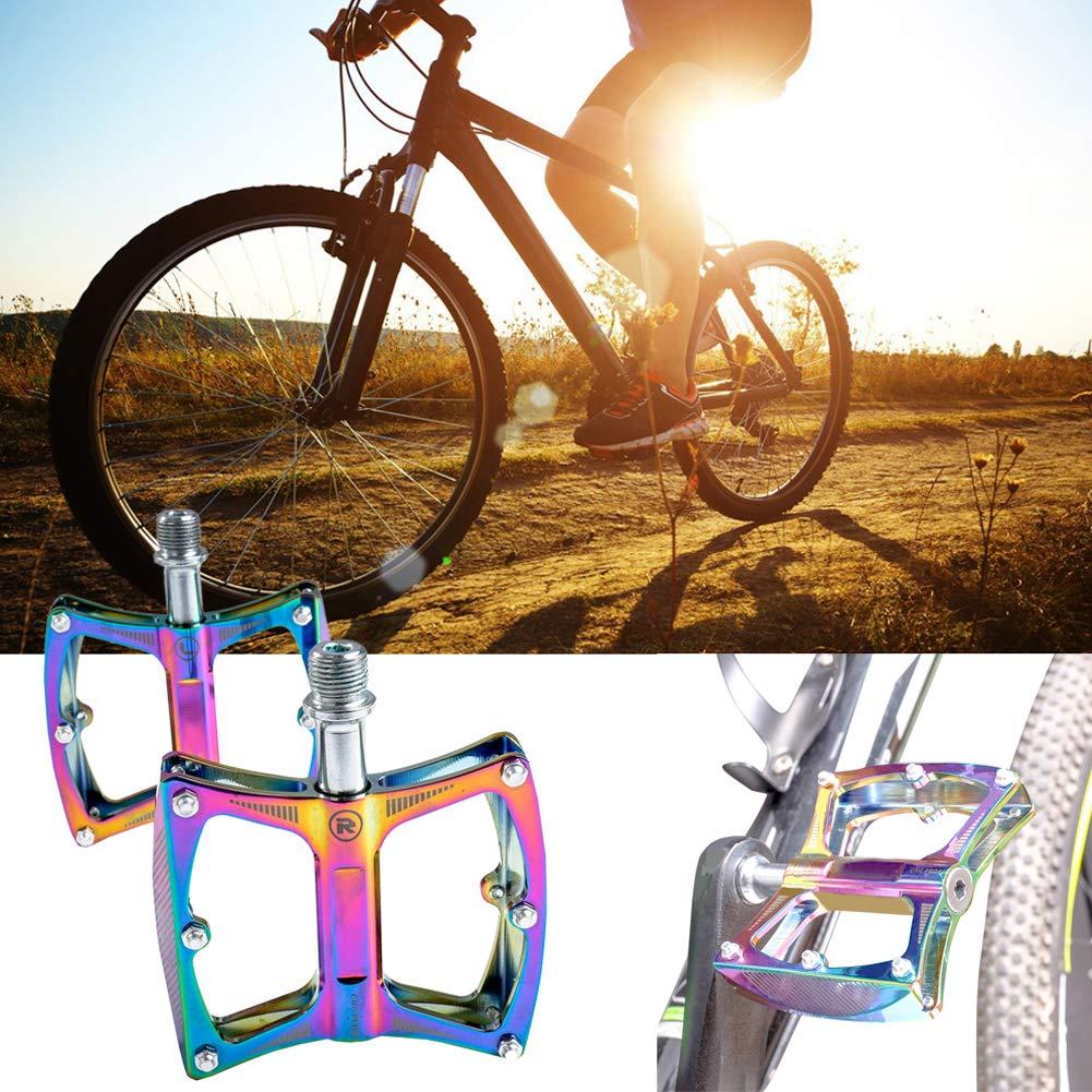 housesweet Alliage daluminium VTT Pedals Anti-Slip roulement Ultra-l/éger Cyclisme VTT v/élo de Route Large Plate-Forme p/édale Arc-en-Ciel