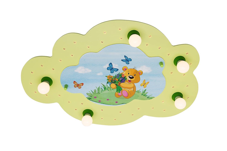 Elobra Bildwolke Teddybär LED Deckenleuchte für Kinder, Holz, E14, 40 W, Lindgrün, 73 x 47 x 6 cm