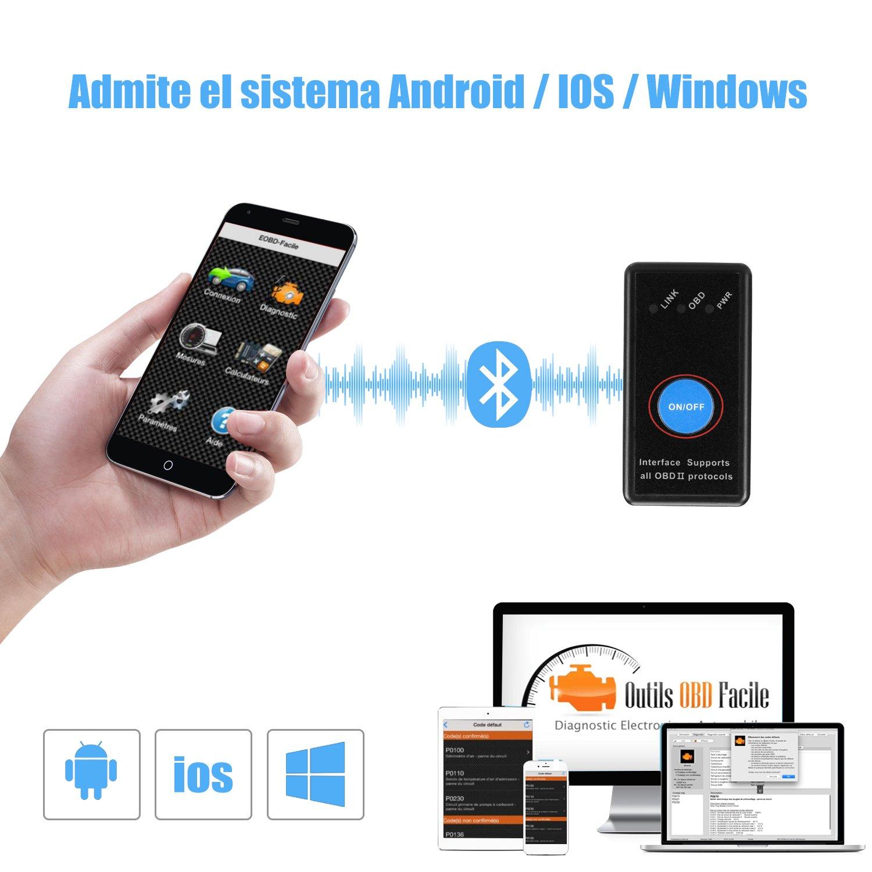 ieGeek OBD 2 Bluetooth 4.0 Auto Coche Herramienta de An/álisis de Diagn/óstico Hilos para iPhone Android iOS Windows Tablet de Symbian Negro