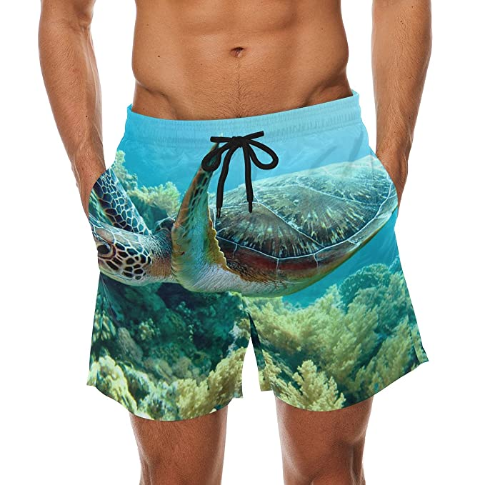 46984b828f Image Unavailable. Image not available for. Color: LORVIES Men's Green Sea  Turtle Beach Board Shorts ...