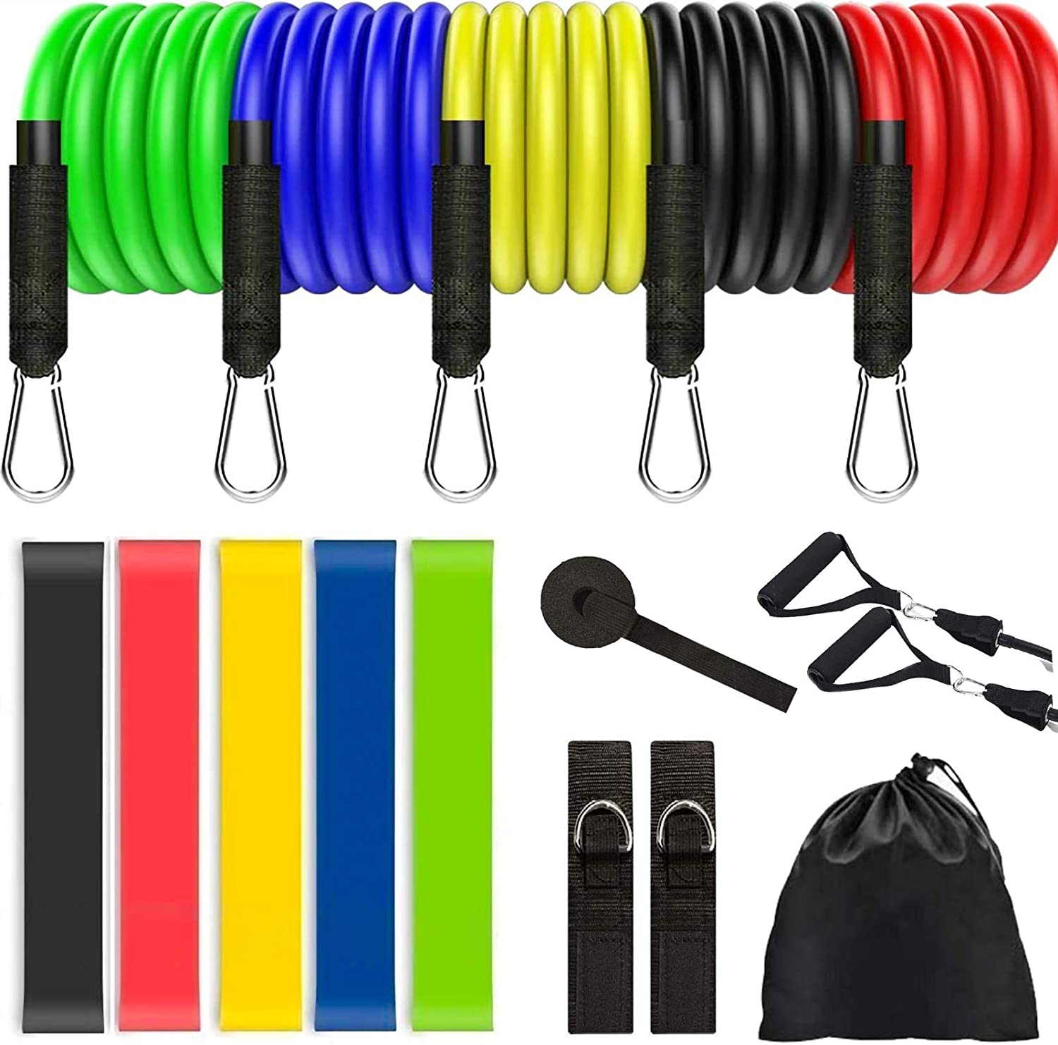 Door Anchor Waterproof Carry Bag 5 Stackable Workout Bands Standfit Resistance Bands Set Glutes Pilates Yoga Perfect for Physical Therapy Handles Exercise Bands Include Legs Ankle Straps