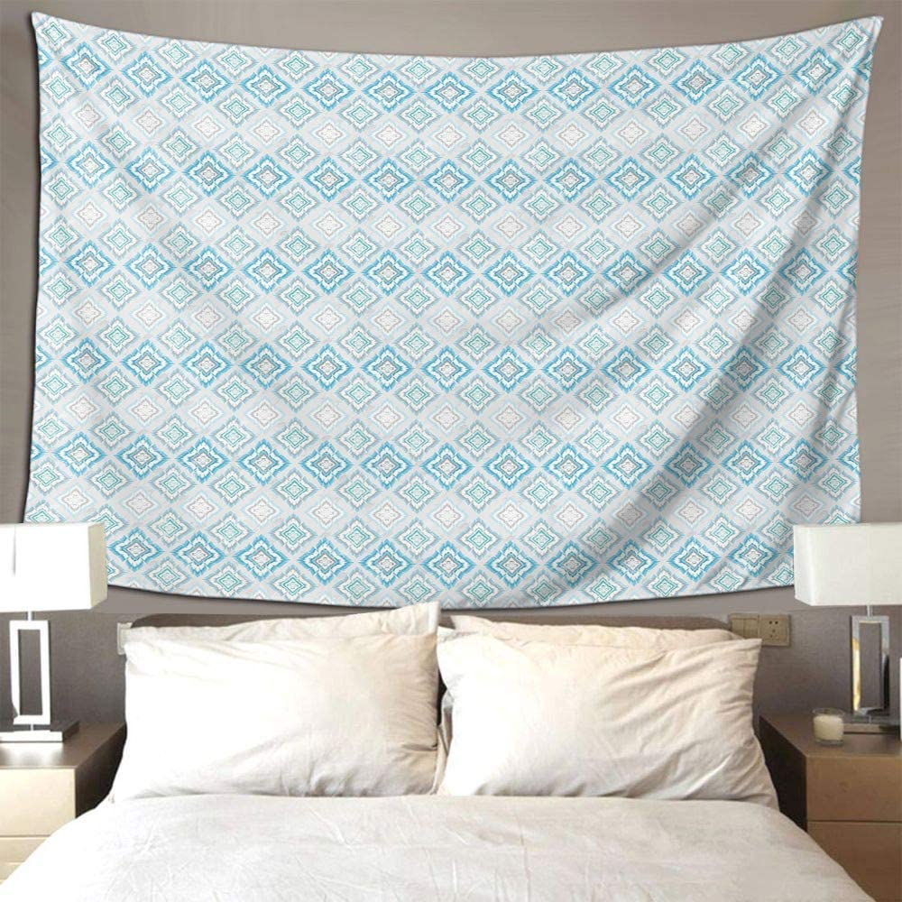 S Brave Sky Ikat Wall Hanging Tapestry Pale Colored Geometric Aztec Traditional Peruvian Culture Elements Tapestries for Room and Outdoor Wall Blanket Grey White Blue Tapestry, 60 x 51 Inches