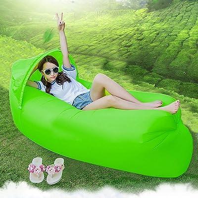 Design original 0.9kg Portable rapide gonflable Canapé/Lit/bateau pour extérieur randonnée Camping Lounge Plage et Garden Leisure Sacs de couchage Camping Lit avec parasol