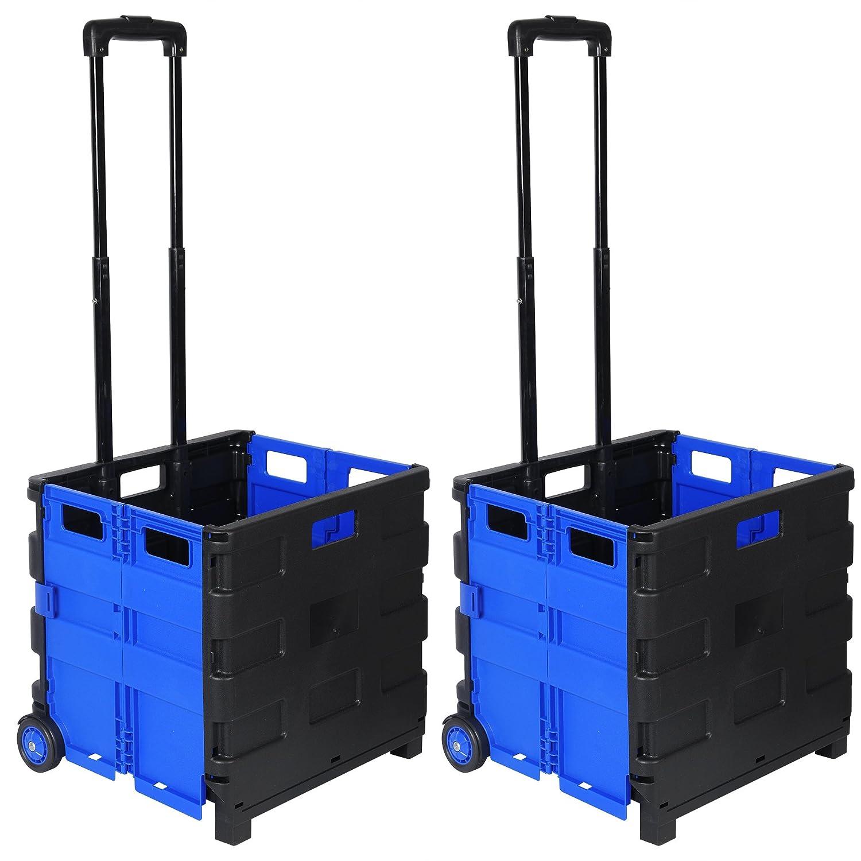 WOLTU 2x Carritos de Compra Carrito de transporte Plegable Capacidad de 35 kg 64L 42 x 40,5 x 38 cm ABS//Acero Inoxidable Negro//Azul EW4801bl-2