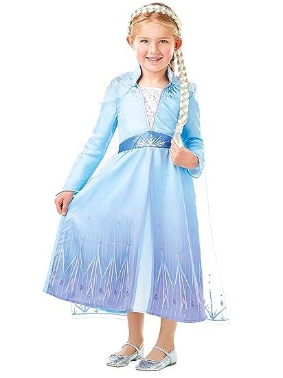 Disney Disfraz Vestido con Trenza para Niñas El Reino del Hielo Elsa Multicolor 5-6 Años
