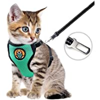 AWOOF Kitten Harness and Leash Escape Proof, Adjustable Cat Puppy Walking Jacket with Metal Leash Ring, Soft Breathable…