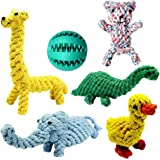 Achivy Dog Toys, Animal Design Cotton Dog Rope Toys with Puppy Pet Play Chew Rubber Treat Ball Toy, Interactive Training Toys