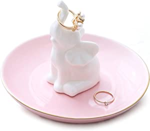 Lucky Elephant Ring Holder Dish for Jewelry, Engagement Wedding Trinket Trays Ring Display Holder Stand White, 5.5