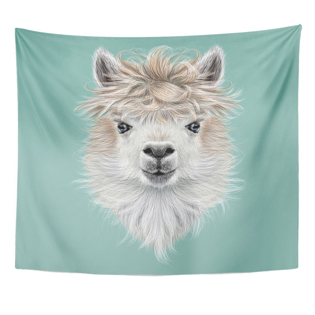 TOMPOP Tapestry America Llama Animal Portrait of Alpaca on Blue Cute Home Decor Wall Hanging for Living Room Bedroom Dorm 50x60 Inches