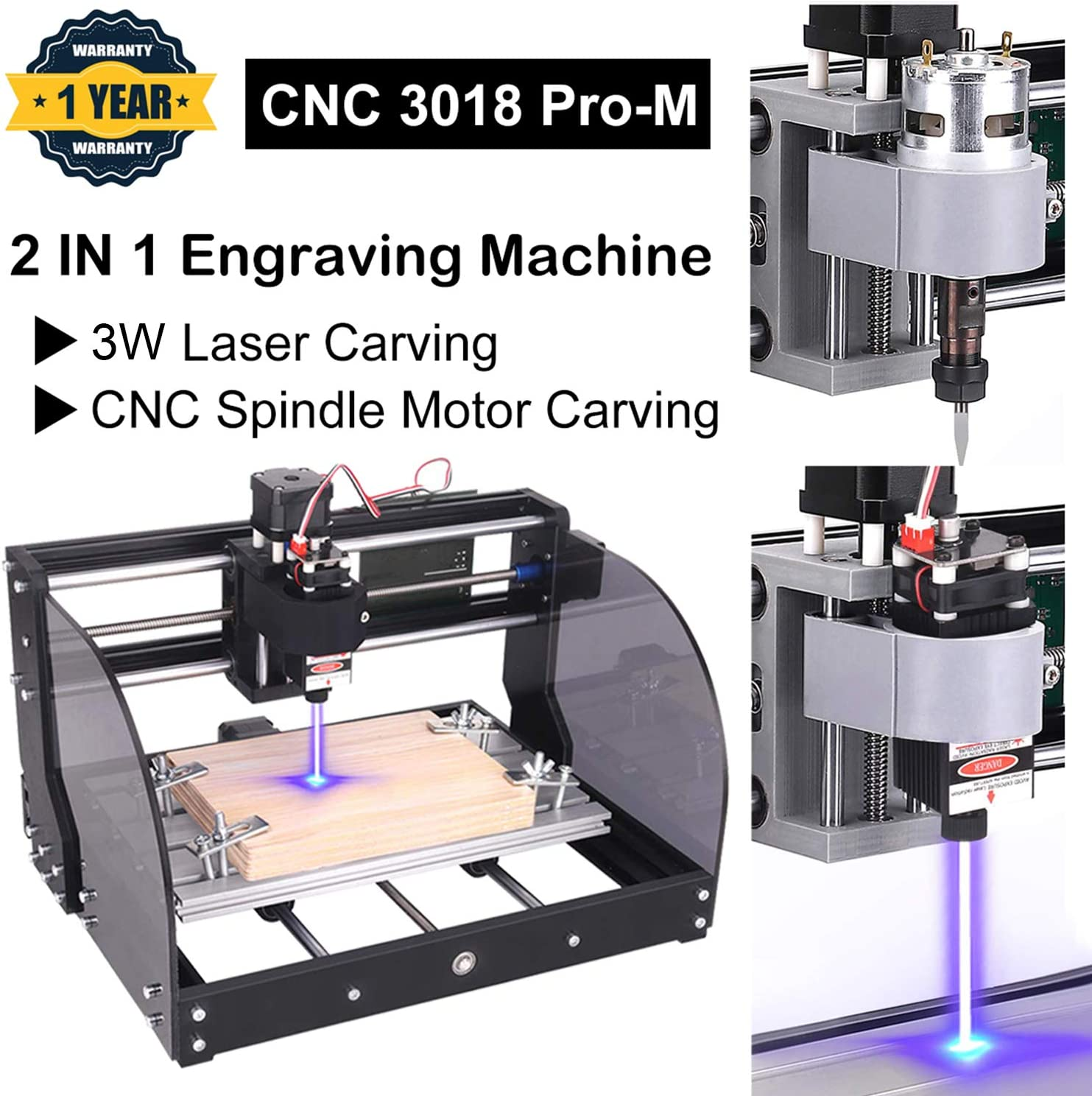 3W Upgrade CNC 3018 Pro-M GRBL Control DIY CNC Engraving Machine with Protected Board 3018-pro with Extension Rod ER11 Collet Set Yofuly 3 Axis PCB PVC Working Area 300x180x45mm
