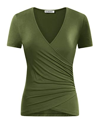 4709441019 GUBERRY Army Green Shirt Women Vneck Short Sleeve Fitted Wrap Ruched Top  Blouse