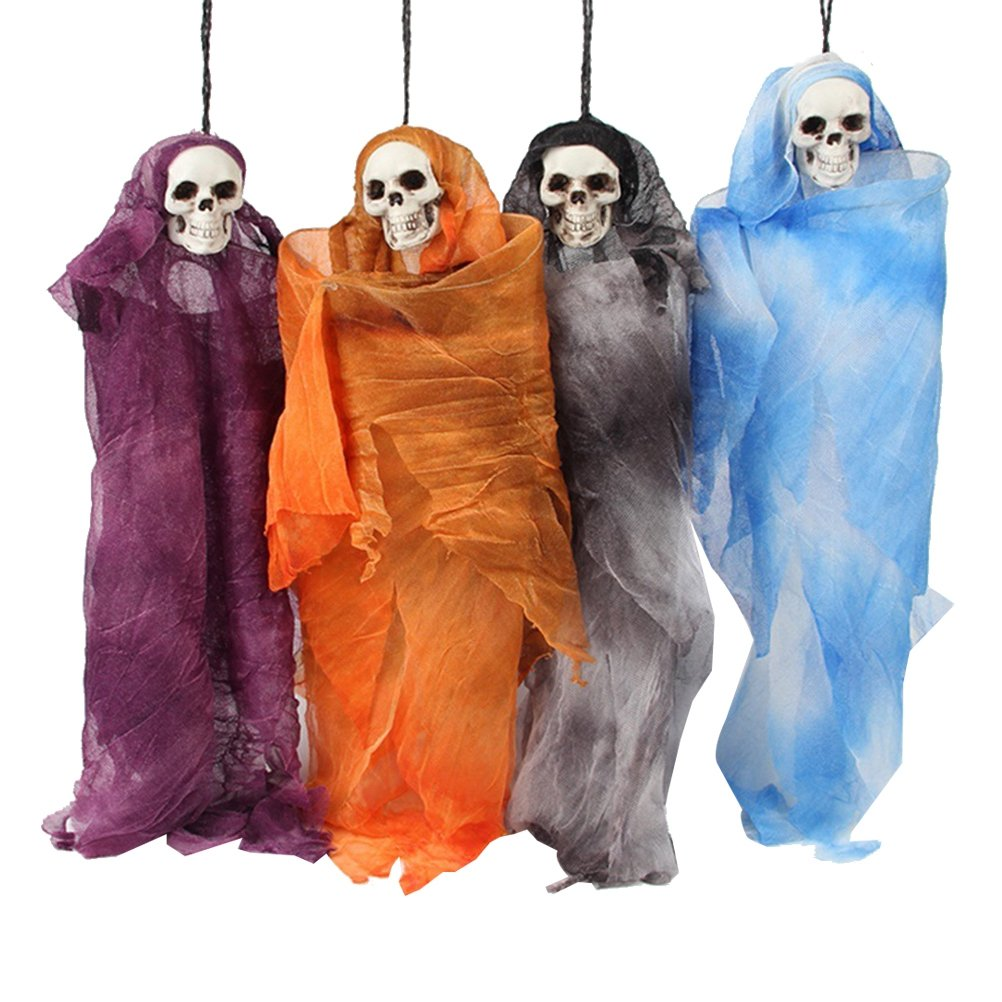 TOYMYTOY Halloween Hanging Decoration Ghost Doll Hangings Skeleton Hanging Ornaments for Halloween Party Decor, 4pcs