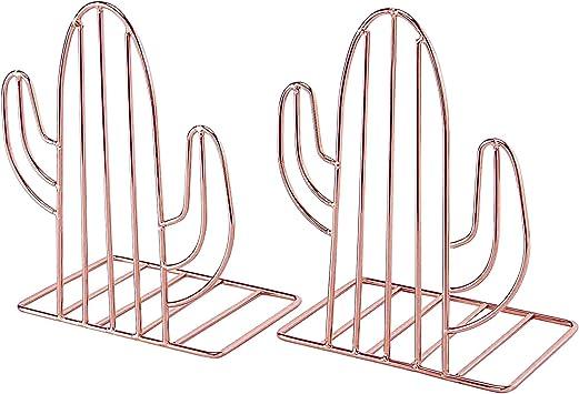 Buchhalterung dekorative Kunst-Buchst/ützen f/ür Regale und Schreibtische f/ür Zuhause und B/üro niedlicher Kaktus 1 Paar Nugorise Buchst/ützen aus Metall