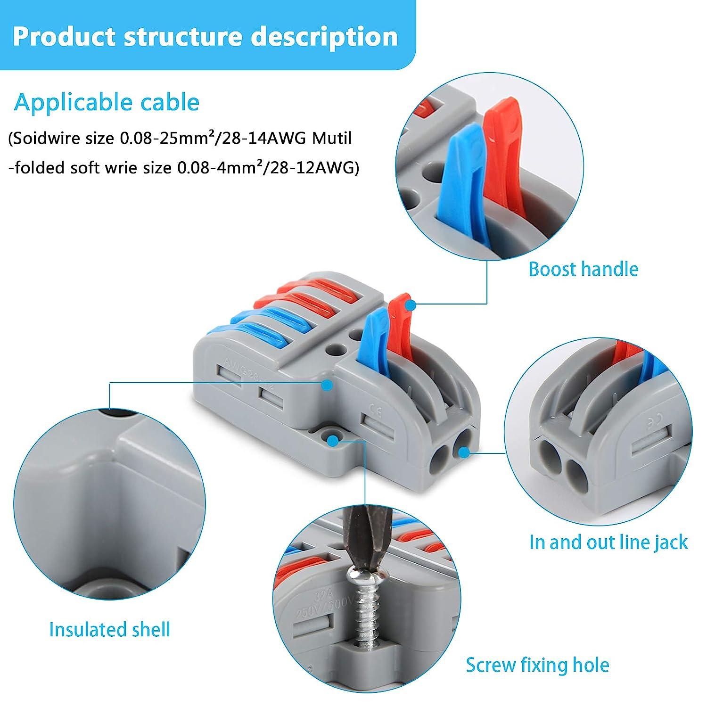 Conducteur /à levier Bloc connecteurs /électriques Lot de 15 connecteurs de c/âble compact de type T Aigreat Connecteurs de raccordement compacts