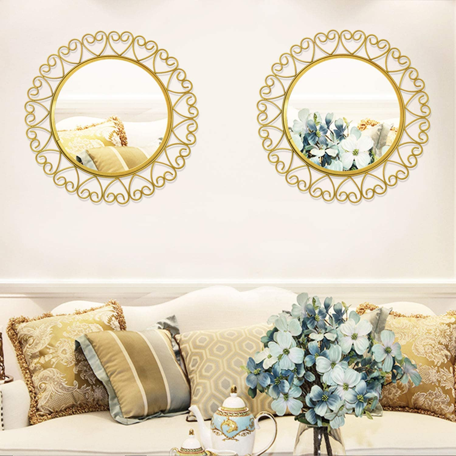 2 Pack Metal Decorative Wall Mirrors Modern Gold Hanging Wall Décor Wall Art for Living Room Farmhouse Bathroom Kitchen