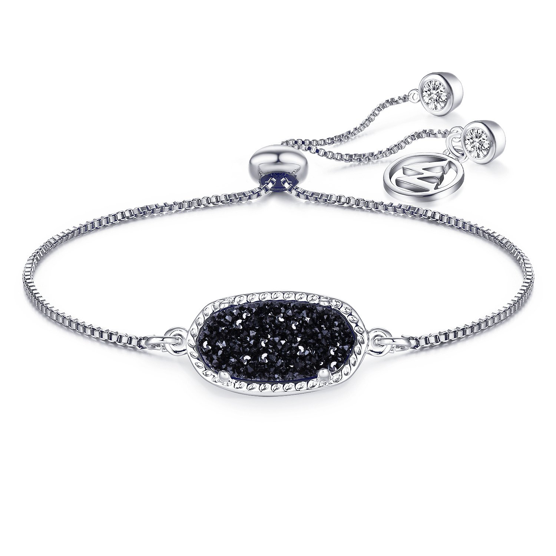 WISHMISS Women Square Natural Drusy Thankful Symbol Adjustable Chain Bolo Bracelet, 2 Colors