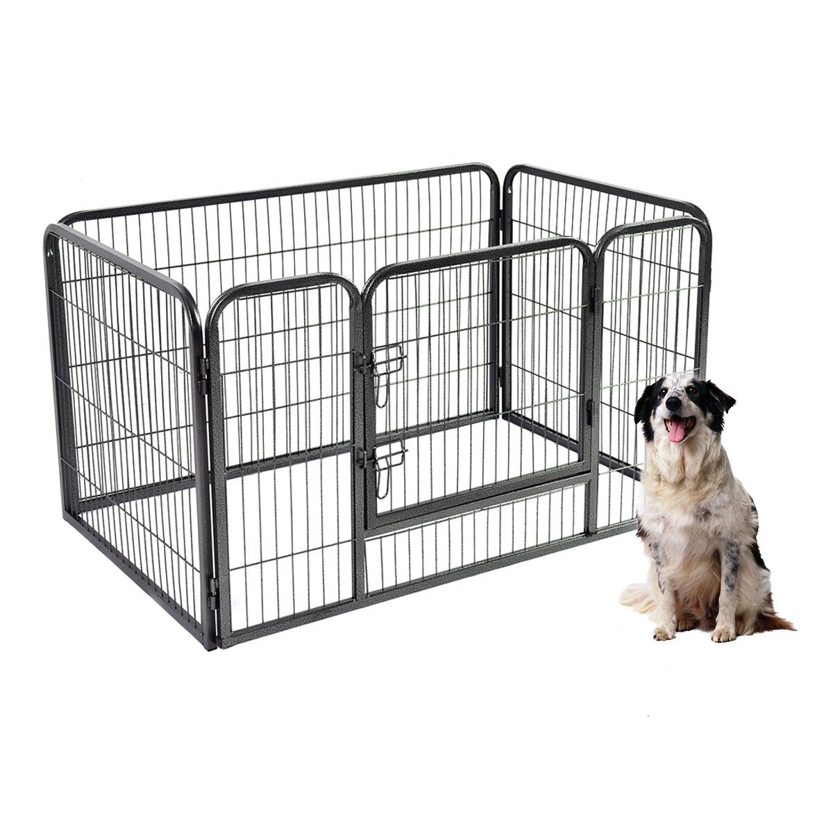 Safstar Metal Pet Playpen Exercise Pen for Dogs Cats Heavy Duty Folding Out Door Fence 4 Panels Each (L: 49''x32''x36'')