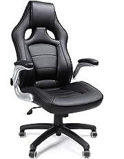SONGMICS Fauteuil de Sport Racing,avec siège épais et Fonction d'inclinaison,Chaise pour Ordinateur,Hauteur réglable Simili Cuir Noir OBG62B