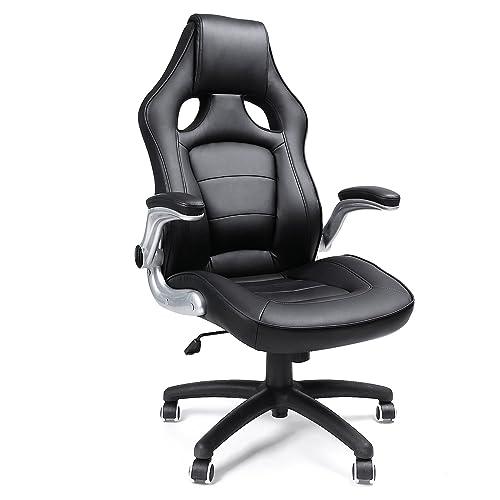 SONGMICS Fauteuil de sport Racing,avec siège épais et fonction d'inclinaison,Chaise pour ordinateur,hauteur réglable simili cuir Noir OBG62B (Noir-62B)