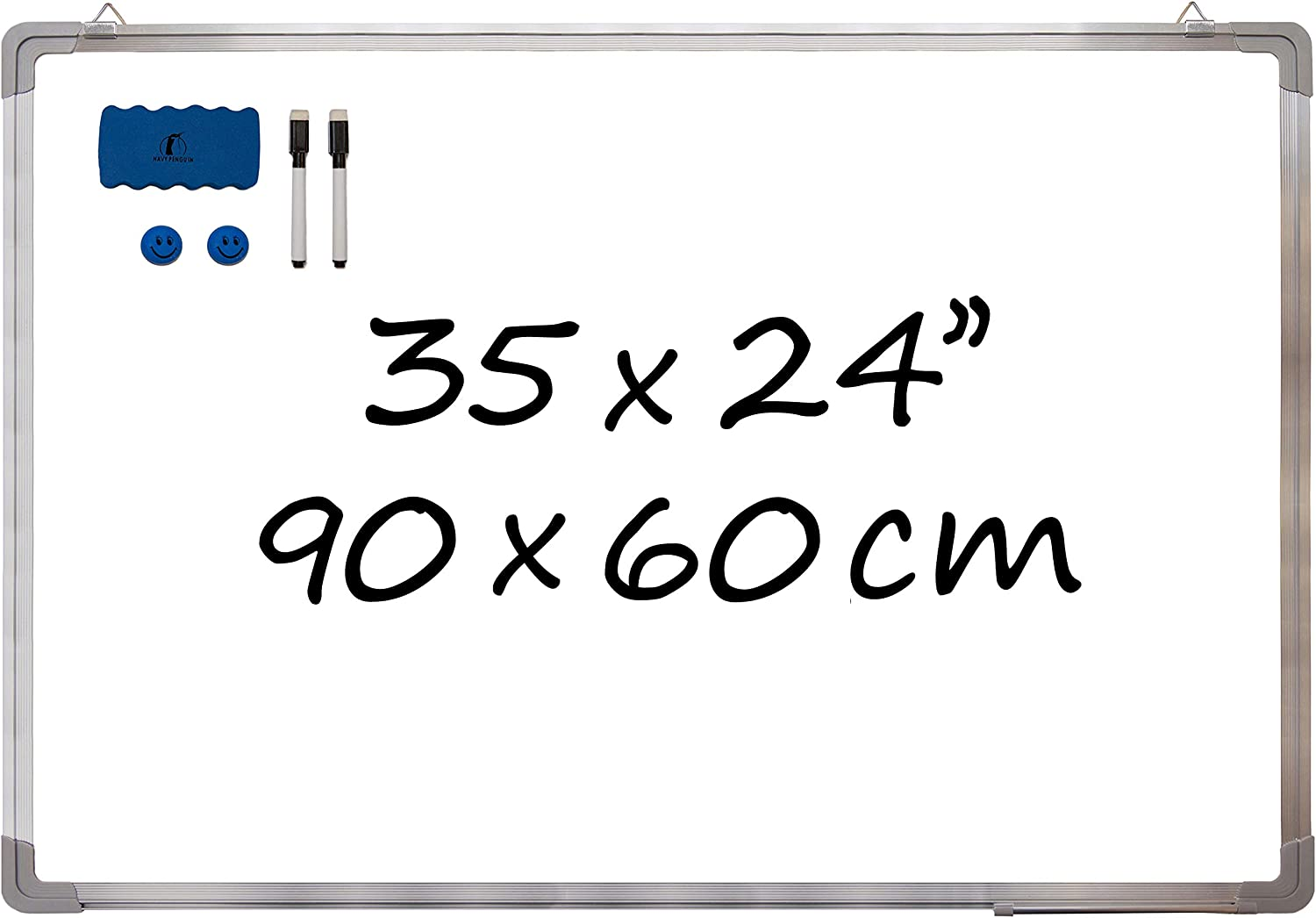 "Whiteboard Set (Various Sizes) - 35 x 24 in Dry Erase Board + 1 Magnetic Eraser, 2 Black Markers and 2 Magnets - Large White Wall Hanging Message Dry Wipe Board for Office and Home (35x24"" Landscape)"