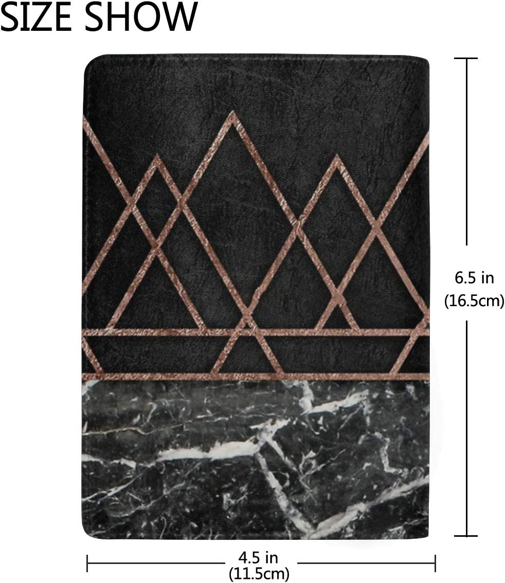 Rose Gold Triangles Marble Multi-purpose Travel Passport Set With Storage Bag Leather Passport Holder Passport Holder With Passport Holder Travel Wallet