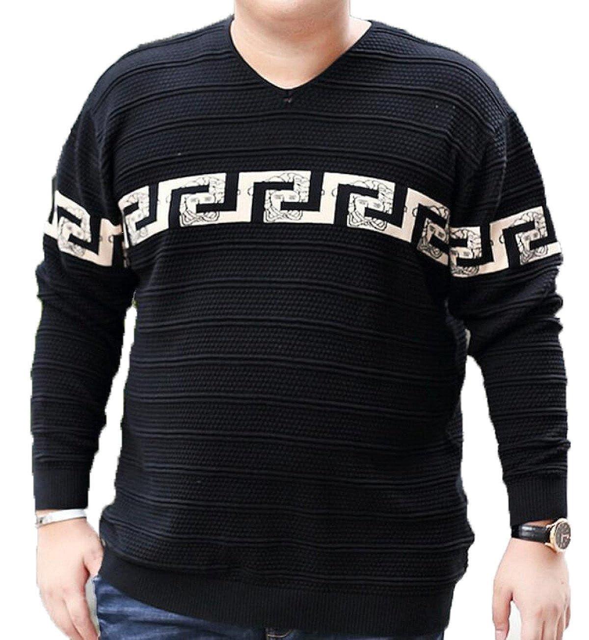 Herren Pullover V-Ausschnitt Pullover Baumwollhemd Pullover Langarm T-Shirt