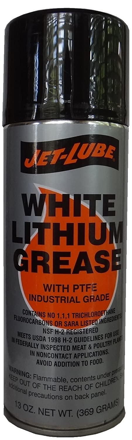 Jet-Lube Lithium Grease With PTFE, 13 oz Aerosol, White Jet-Lube Industrial 50341