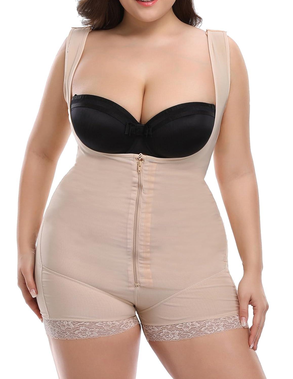 02287abb77 Bslingerie Ladies Slimming Openbust Shapewear Full Slip Bodysuit Lingerie   Amazon.co.uk  Clothing