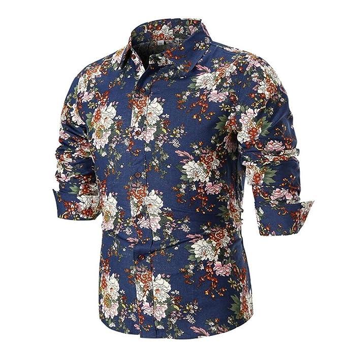 Yvelands Moda Masculina Guapo Verano Solapa Casual Camisa Estampada Delgada Camisa Slim fit Abotonada y Transpirable