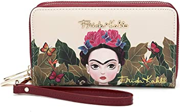 Frida Kahlo Cartoon Around Zip Wallet with Wristlet