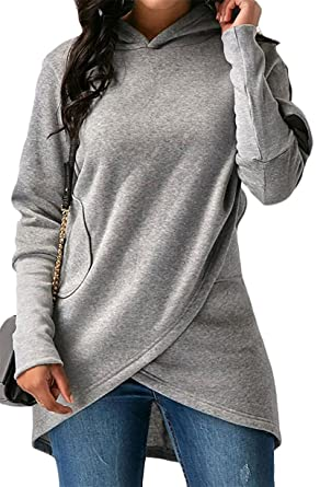 QZX Women Stylish Hooded V-Neck Long Sleeve Sweatshirts Pullover at