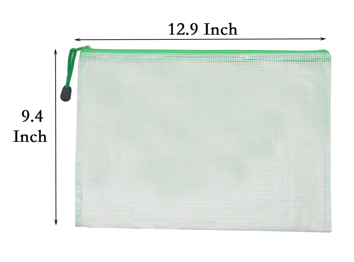 Zipper File Bags Mesh Zipper Bag Document Pouches Waterproof Poly Envelope Travel Pouch Plastic File folder Organizer Office Documents Bag A4 Paper Size Plastic with Zipper Closure -12 Pcs (Green) by SLanC (Image #2)