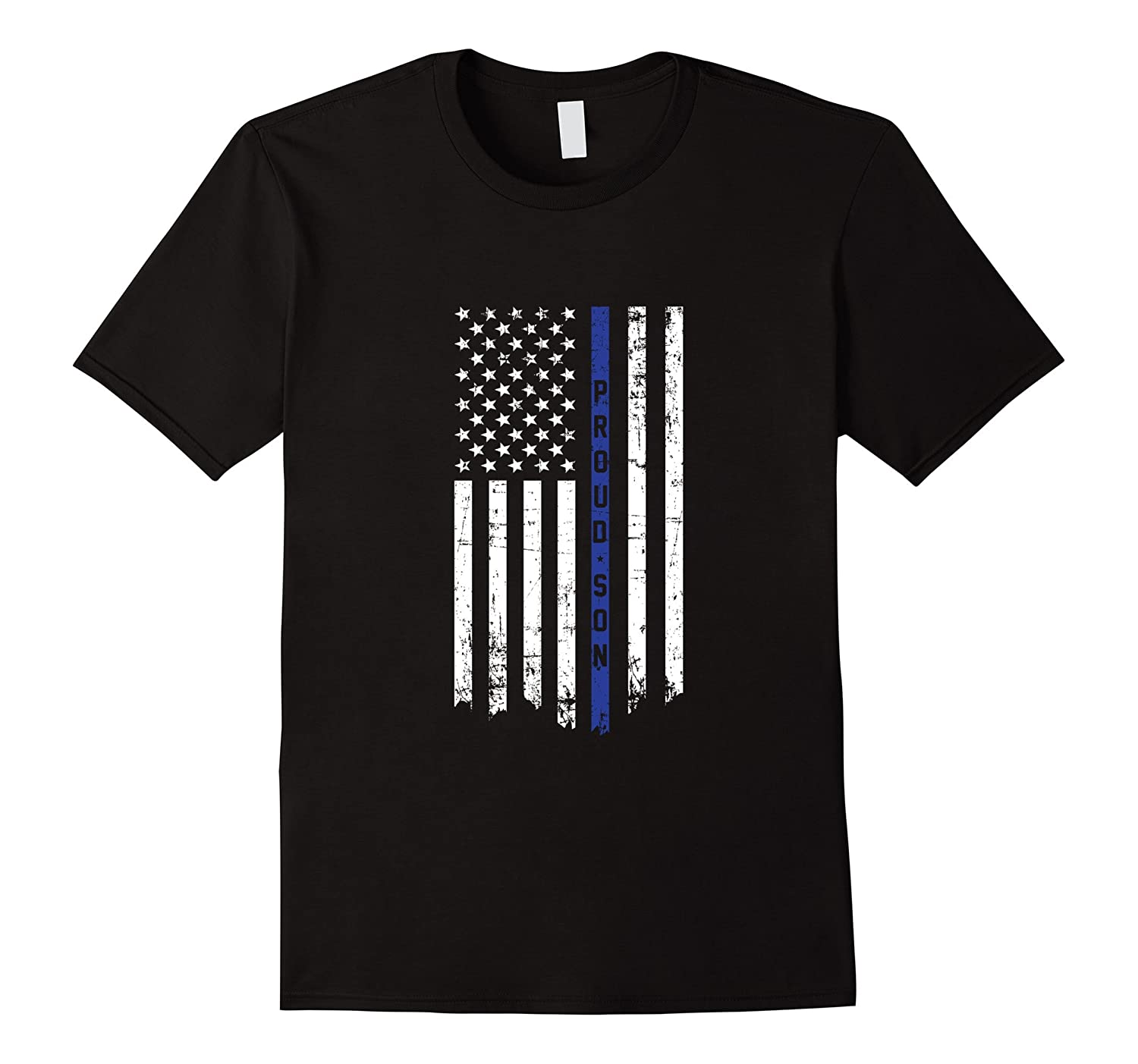 Proud Son Police Officer Thin Blue Line Flag T-shirt-Vaci