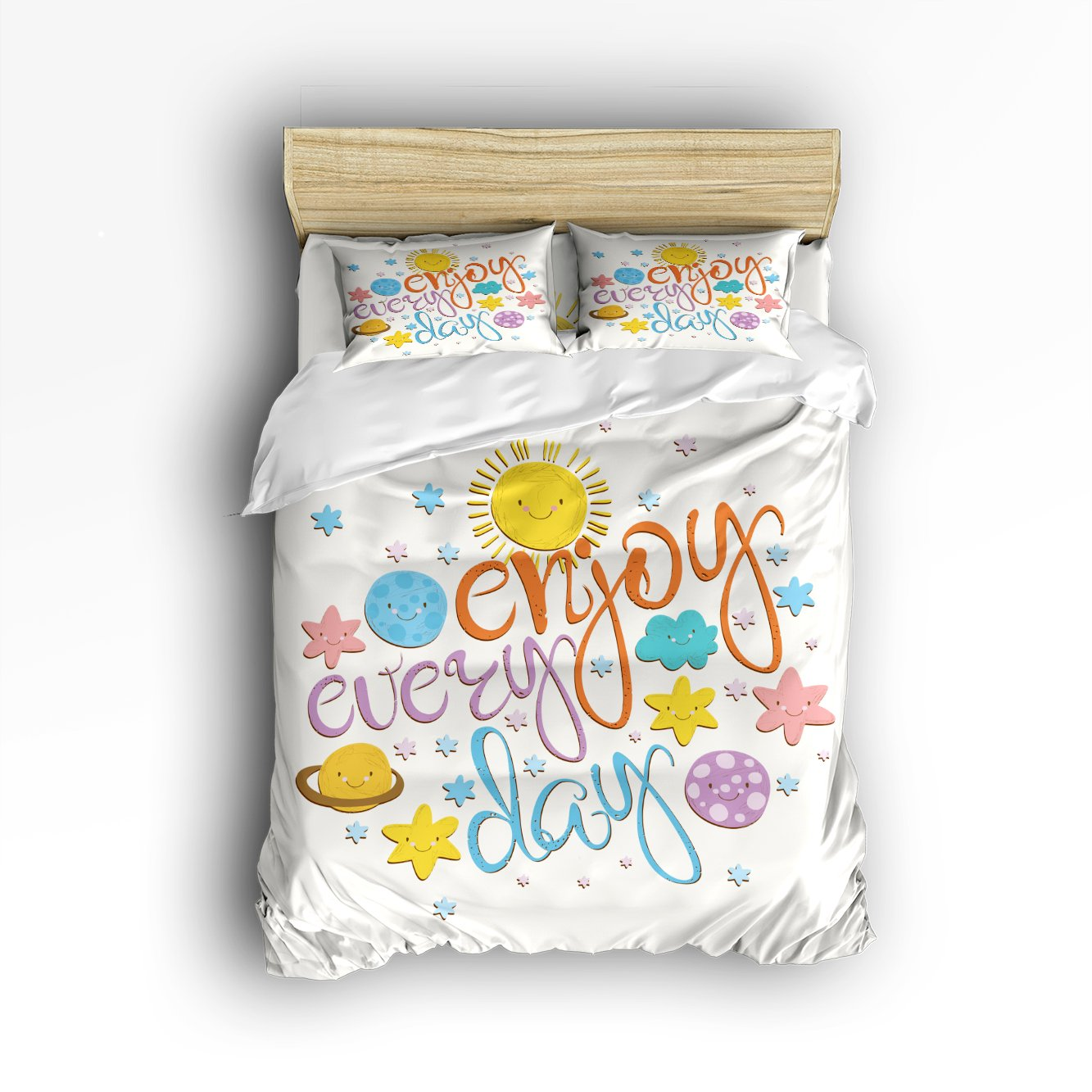 Libaoge 4 Piece Bed Sheets Set, Enjoy Every Day Colorful Script Sunshine Print, 1 Flat Sheet 1 Duvet Cover and 2 Pillow Cases by Libaoge