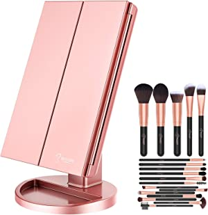 BESTOPE 18 Pcs Makeup Brush Set Premium Synthetic Fan Foundation Powder Make Up Brushes Kit & Makeup Mirror with Lights 21 Led Vanity Mirror with 2X/3X Magnification Touch Screen Lighted Mirror