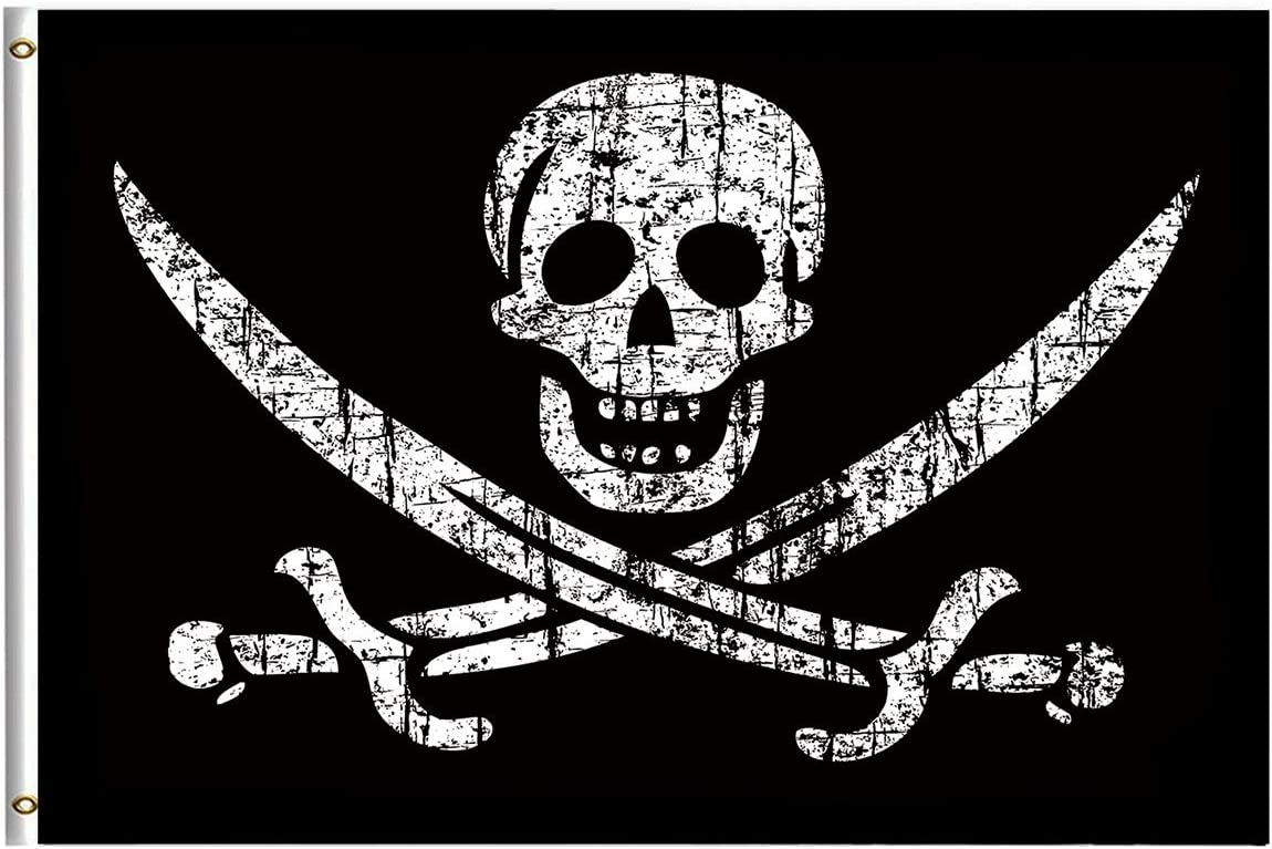 Pirate Flags Jolly Roger Flag 4x6 Feet with Brass Grommet Double Stitch Pirate Jack Captain Skull Sword Banner Garden Flag Breeze House Decorations for Outdoor Home Boat Yacht Car