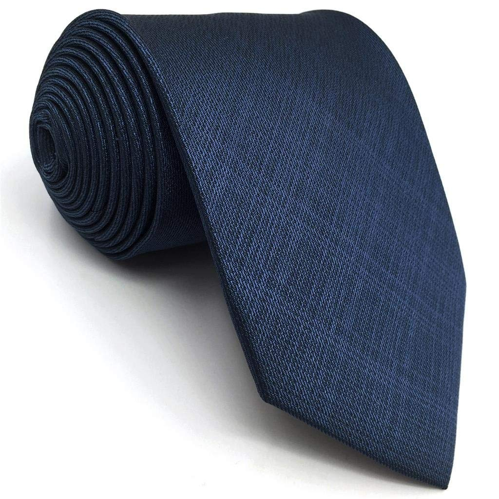 Shlax&Wing Business Neckties Mens Tie Solid Blue Classic Extra Long XL