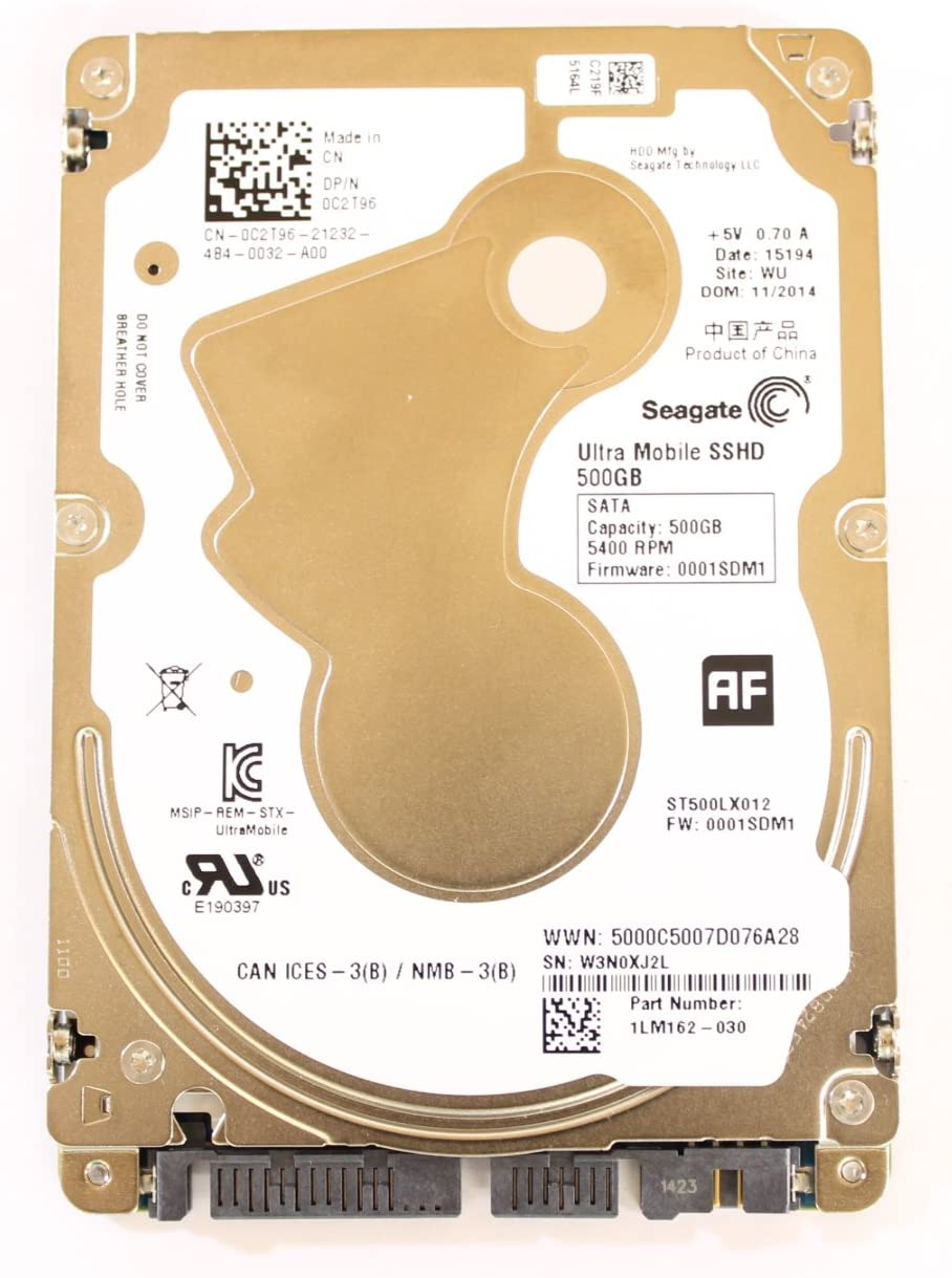 """Dell C2T96 ST500LX012 2.5"""" Ultrathin 5mm SSHD SATA 500GB 5400 Seagate Laptop Hard Drive"""