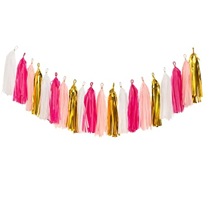Ling's Moment 18 Pcs Tassel Garland Banner Tissue Paper Tassels For Wedding Baby Shower Event & Party Supplies Diy Kits   (Pink+Metallic Gold+White) by Ling's Moment