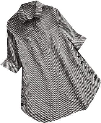 Comaba - Camisa de Manga Larga para Mujer, diseño de Cuadros con Cuello Plano - Negro - US 4X-Large: Amazon.es: Ropa y accesorios