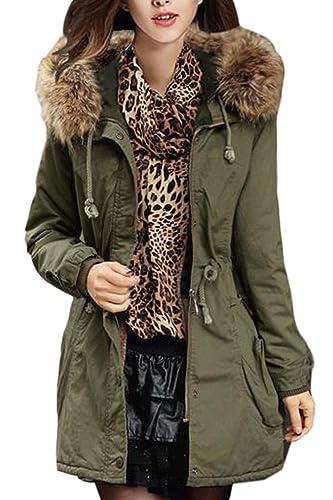 La Mujer Invierno Cálido Color De Piel Engrosada Parkas Abrigo Con Capucha Con Cordon